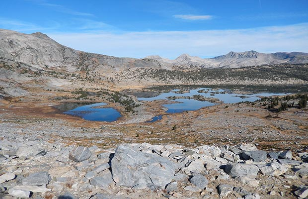 The west end of Thousand Island Lake as seen from Garnet Pass - on the High Route