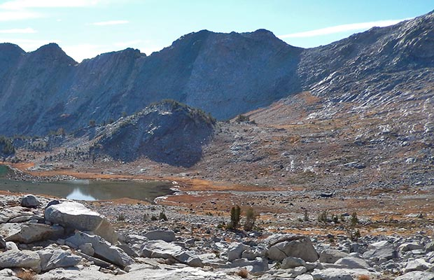 Whitebark Pass as seen from the southern side of Garnet Pass - on the High Route