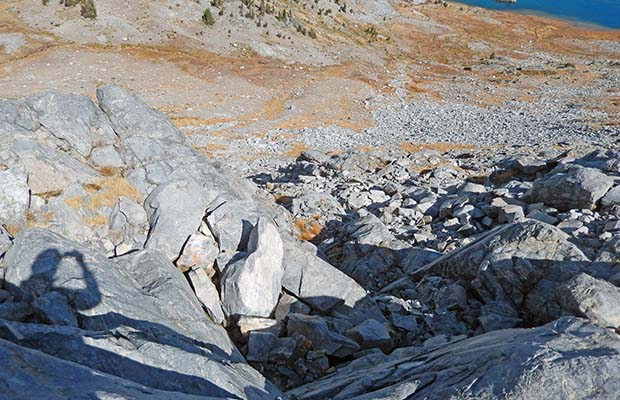 The climb of Whitebark Pass from the northern side - slightly off-route on the High Route