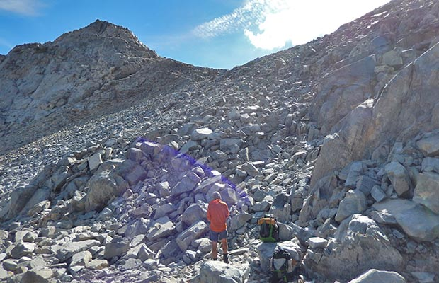Almost to the summit of Whitebark Pass - slightly off-route on the High Route