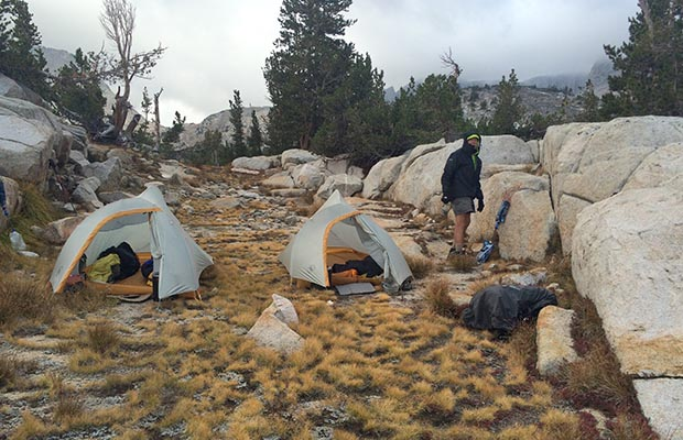 The campsite at Marie Lake which gave some protection from the cold southerly wind.