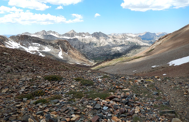 Looking west from the summit of McGee Pass and our route downhill to Tully Lake.