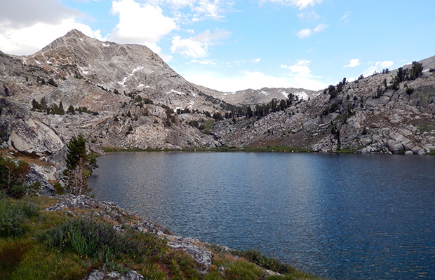 The view from our Tully Lake campsite with Shout of Relief Pass on the low point of the skyline