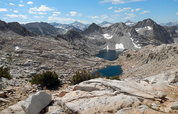 Looking south from the summit of Shout of Relief Pass with Rosy Finch Lake below.