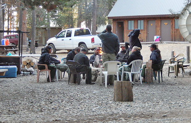 A group of forest firefighters relaxing at VVR. Dealing with fire near Devils Bathtub