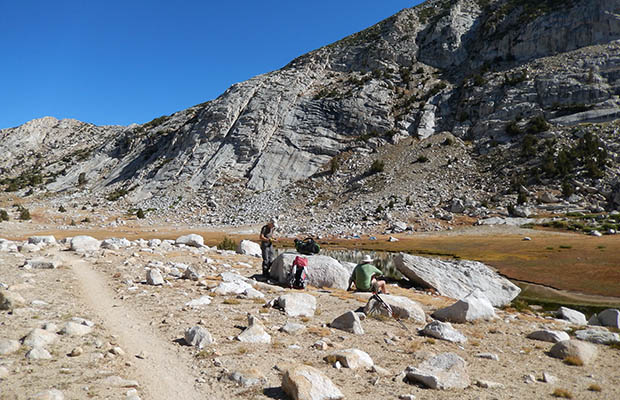 On the JMT, south of Silver Pass and to one side of Silver Lake
