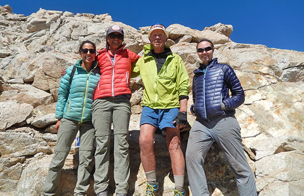 Peter with friends on the summit of the 13,200' Forester Pass