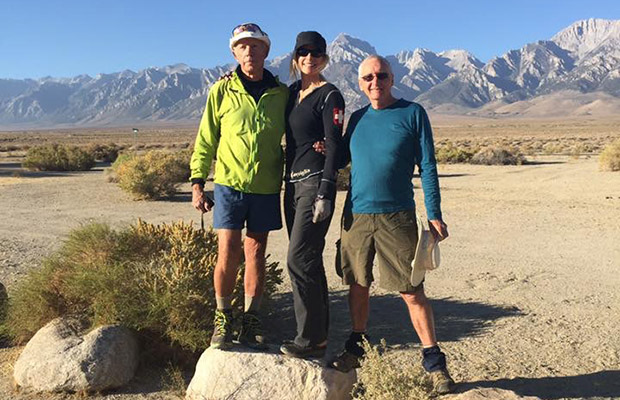 The JMT Elite: Tinman, Strider and Mike Fox on rocks in the backyard