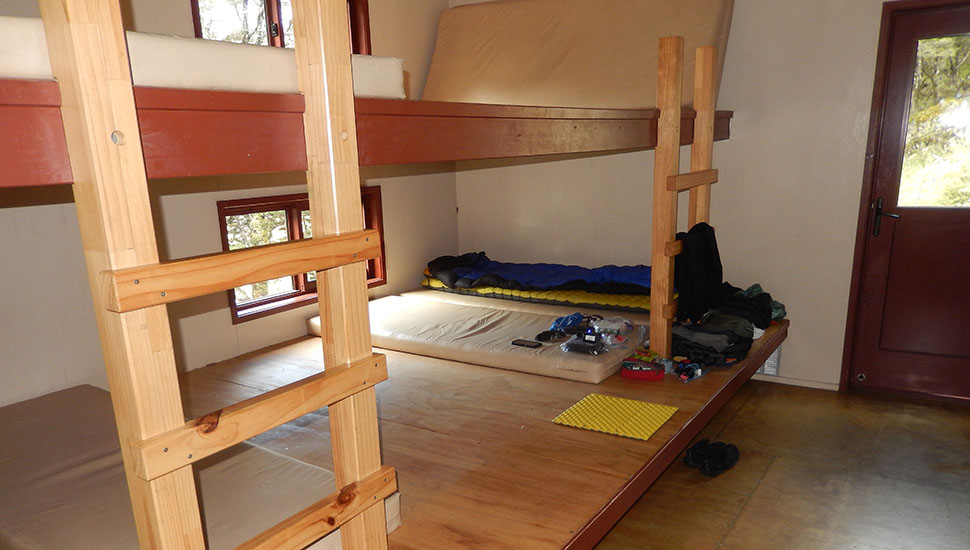 One of the two bunkrooms in the Upper Travers Hut - alone again!