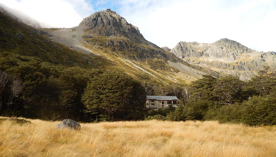 Looking south at the Upper Travers Hut [24 bunks]