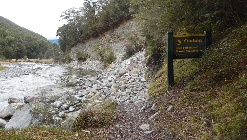 A wash-out & rockfall hazard that's not been repaired - easier and cheaper to put up a warning sign!!