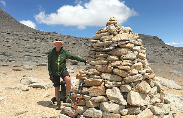 The rock cairn at the 13,200' elevation on Mount Langley.