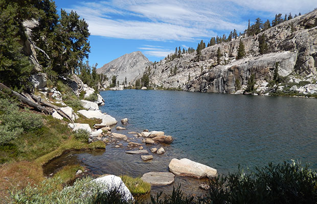 The northwestern end of Izaak Walton Lake, on the Sierra High Route
