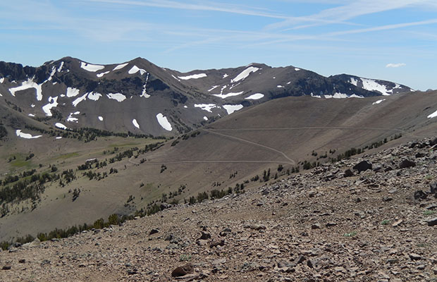 The long switchbacks of the PCT and Tungsten Trail (old mining road)
