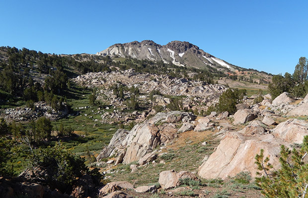 Finding our way to Emigrant Pass. Grizzly Peak behind