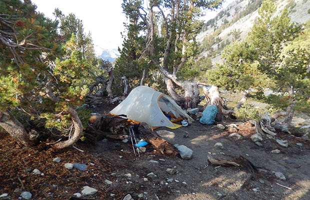 My cold wet campsite near Duck Creek Outlet after a day and night of rain.