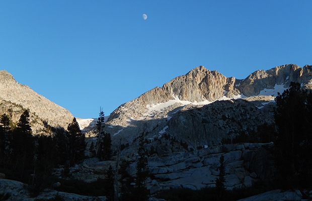 An evening image of the moon and Mount Izaak Walton (12,100').