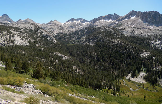 The view down into Tully Hole from the JMT switchbacks south of Virginia Lake.
