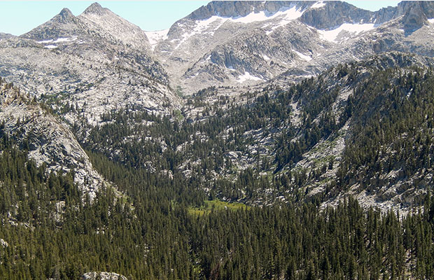 The green meadow is Horse Heaven, a gateway to the Sierra High Route.