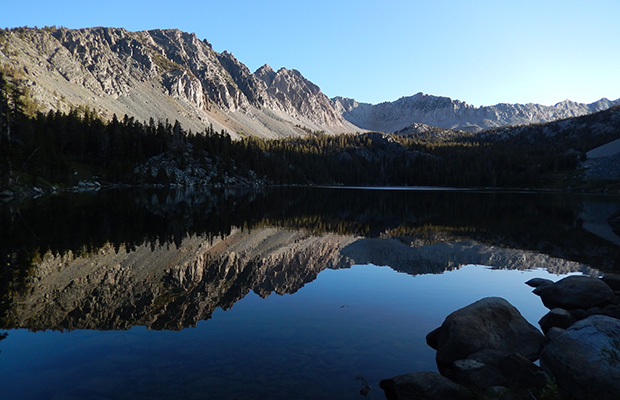 Homeward bound on the JMT.  Early morning at Purple Lake, where I'd made my last camp.