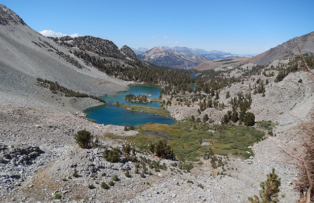 Climbing up to Duck Pass from the Mammoth Lakes.  Mammoth Mountain in the background.