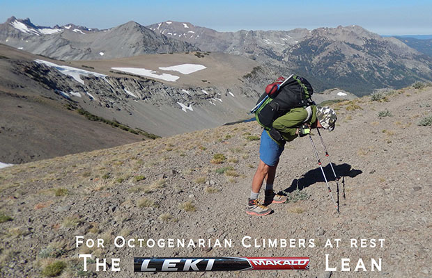 Peter resting at 11,000' using Leki Trekker poles (crutches!)