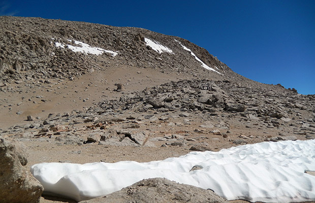 The final ramp to the summit of Mount Langley seen from 13,200'.