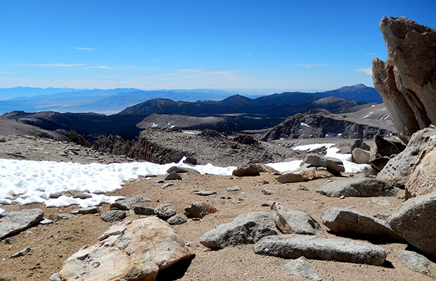 The view to the east over Owens Valley, from 13,200' on Mount Langley.