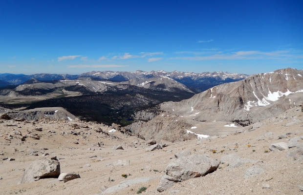 Looking south from 12,500' on the Mount Langley climb route.