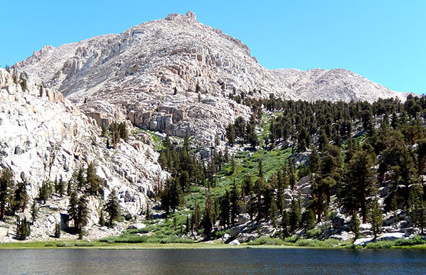 Looking across Lower Soldier Lake to the access climb routes for the Upper Lake.