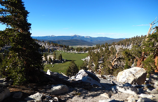 The view from the PCT, looking south to Big Whitney Meadow, in the distance.