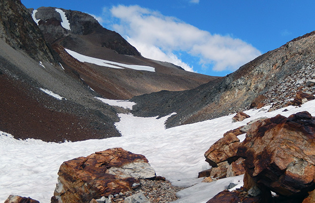 The final section of McGee Pass with hard packed snow across the Trail
