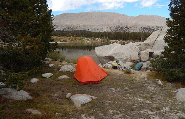 My campsite at No.2 Lake of the Cottonwood Lakes.