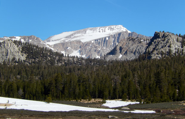Mount Langley with solid snow cover, seen from Horseshoe Meadow.