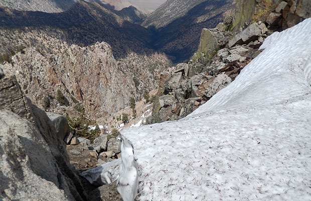 The snow filled eastern section of the precipice.