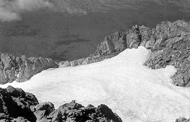 A late 1930's photo taken from the summit of Egmont, looking into the crater