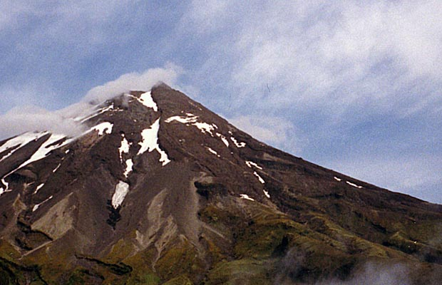 The eastern face of Egmont as seen from the Stratford trailhead parking area.