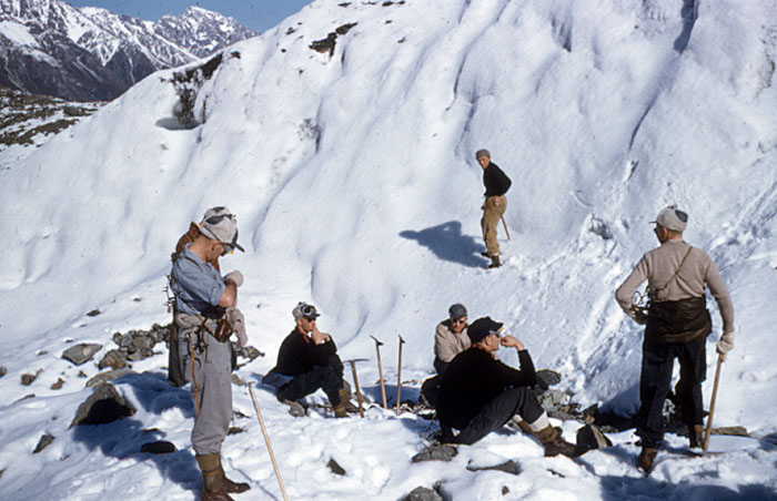 Tasman Glacier 1959: Ice axe & crampon training with NZ's greatest alpinist, Harry Ayres.