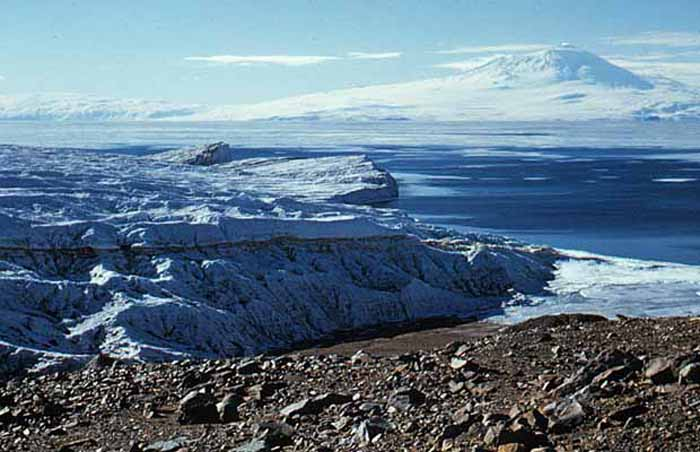 Looking east to Ross Island across McMurdo Sound from the Ferrar Glacier.