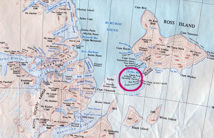 Map of Ross Island, McMurdo Sound and the western coast.  The red circle covers the Base.