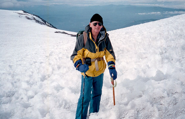 2001: Mal on the last section of the summit climb ... Piker's Peak behind.