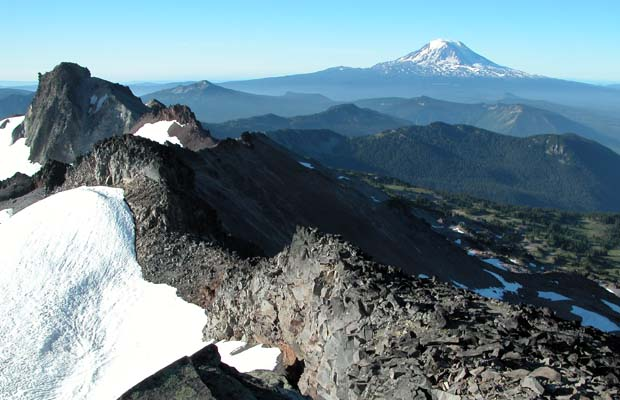 Mount Adams as seen from the summit of Old Snowy in the Goat Rocks Wilderness