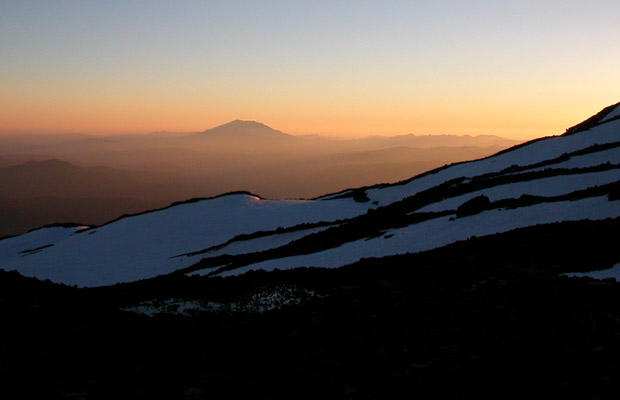 1992: Last light, looking southeast from the Lunch Counter to Mount St. Helens