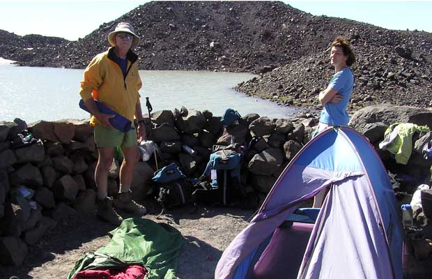 2005: Our camp by the glacial moraine lake -7,500'- at the base of the North Cleaver.