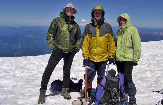 2005: The terrific trio triumphant, on the summit of Mount Adams -12,276'.