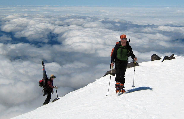 2007:  Fellow climbers approaching Piker's Peak, equipped with skis for their descent