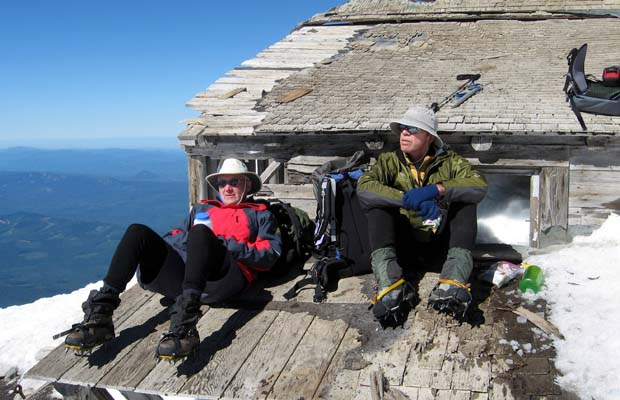 2007: Mike and Peter on the planks of the long disused hut at the summit.