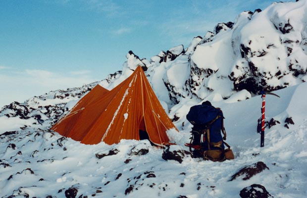 1987: My basic tent at 8,800' after surviving blizzard conditions for 20 hours.