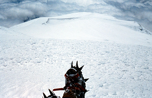 1987: All alone on the summit -12,276'- looking down to Piker's Peak