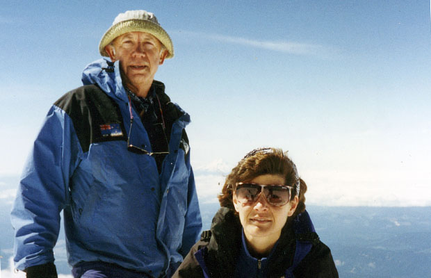 1995: With Lucy on the summit of Adams for her first ascent of this peak.